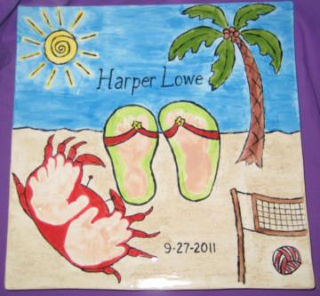 Beach Scene with Prints